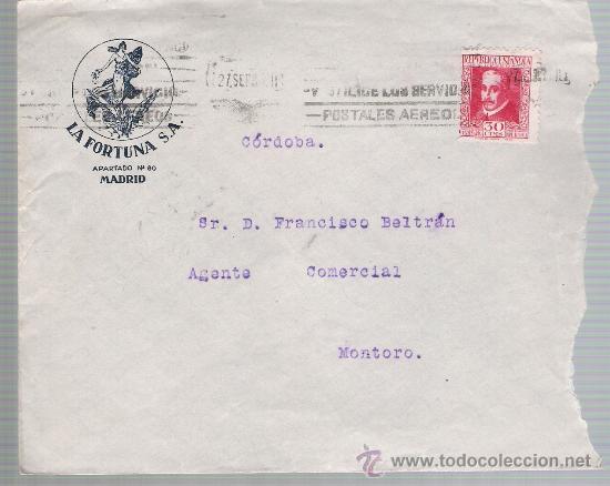 CARTA DE MADRID A SEVILLA DE 27 SEP. 1935. MEMBRETE: LA FORTUNA S.A. MADRID. (Sellos - España - II República de 1.931 a 1.939 - Cartas)