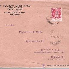 Sellos: CARTA DE SANTA CRUZ DE MUDELA A MONTORO DE 12 ABR. 1936. MEMBRETE: F.TOLEDO ORELLANA.ACEITES,. Lote 22569738