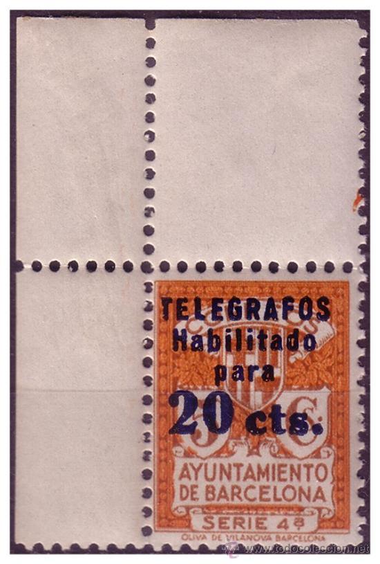 BARCELONA TELÉGRAFOS 1934 HABILITACIÓN TIPO B, EDIFIL Nº 5 * * MARQUILLADO, LUJO (Sellos - España - II República de 1.931 a 1.939 - Nuevos)