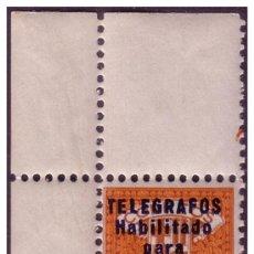 Sellos: BARCELONA TELÉGRAFOS 1934 HABILITACIÓN TIPO B, EDIFIL Nº 5 * * MARQUILLADO, LUJO. Lote 23348200