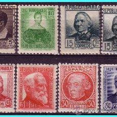 Sellos: 1933 PERSONAJES, EDIFIL Nº 681 A 688 * *. Lote 24732354