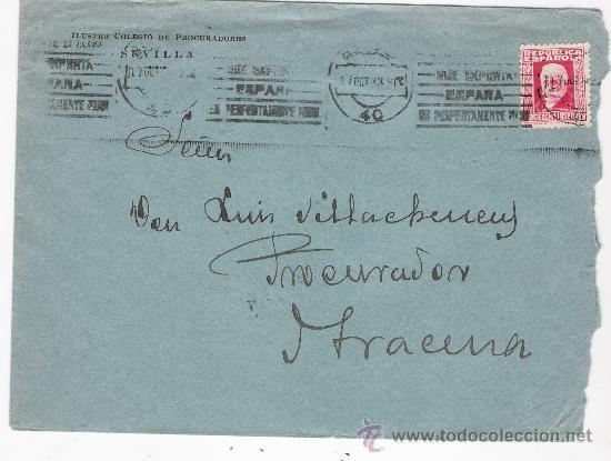 CARTA CON MEMBRETE. DE SEVILLA A ARACENA.DE 7 OCTUBRE 1933. FRANQUEADO CON SELLO 669. (Sellos - España - II República de 1.931 a 1.939 - Cartas)