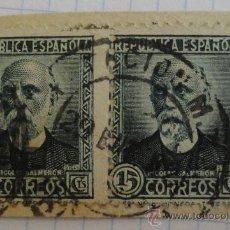 Sellos: 2 SELLOS DE LA REPÚBLICA ESPAÑOLA, 15 CTS. VERDE, MATASELLADOS. NICOLÁS SALMERÓN.. Lote 28436105
