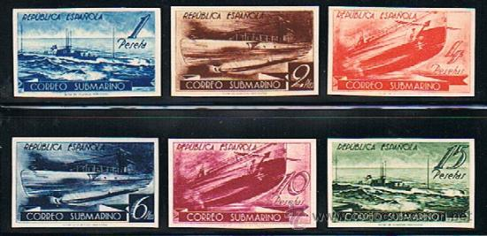 ESPAÑA 1938 CORREO SUBMARINO (775 PCS A 780 PCS) PAPEL CARTÓN SIN DENTAR (Sellos - España - II República de 1.931 a 1.939 - Nuevos)