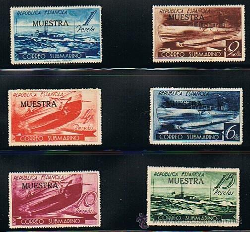 ESPAÑA 1938 CORREO SUBMARINO (775 M A 780 M) SOBRECARGA MUESTRA (Sellos - España - II República de 1.931 a 1.939 - Nuevos)
