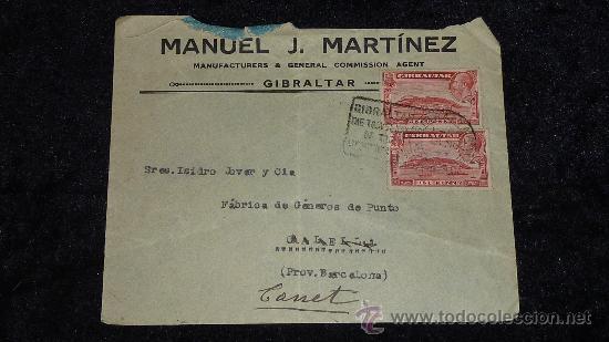 SOBRE DE 1933 DE CALELLA A GIBRALTAR , CON SELLO Y TAMPON DE II REPUBLICA ESPAÑOLA. (Sellos - España - II República de 1.931 a 1.939 - Cartas)