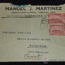 Sellos: SOBRE DE 1933 DE CALELLA A GIBRALTAR , CON SELLO Y TAMPON DE II REPUBLICA ESPAÑOLA. . Lote 29354264
