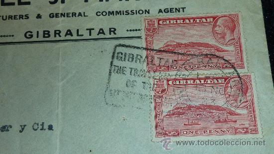Sellos: Sobre de 1933 de calella a Gibraltar , con sello y tampon de II republica española. - Foto 2 - 29354264
