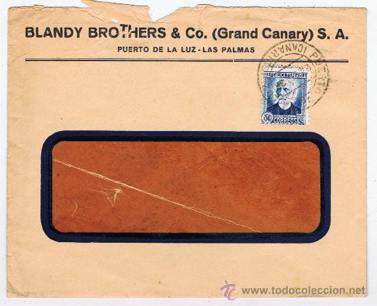 CIRCULADO 1936 PUERTO DE LA LUZ LAS PALMAS CANARIAS (Sellos - España - II República de 1.931 a 1.939 - Cartas)