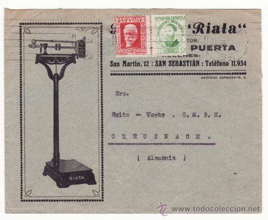 SELLOS REPÚBLICA JOAQUIN COSTA, CARTA COMERCIAL BÁSCULAS RIATA, SAN MARTÍN 12, SAN SEBASTIÁN (Sellos - España - II República de 1.931 a 1.939 - Cartas)