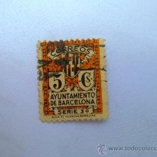 Sellos: SELLO DEL AYUNTAMIENTO DE BARCELONA (1932-1935). 5C NEGRO Y NARANJA.. Lote 31899520