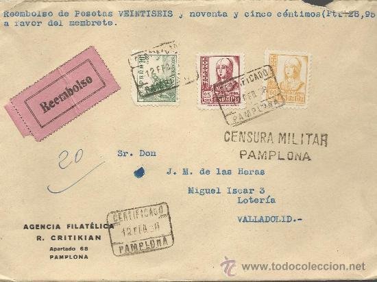 CARTA CON RARA CENSURA MILITAR DE PAMPLONA (Sellos - España - II República de 1.931 a 1.939 - Cartas)