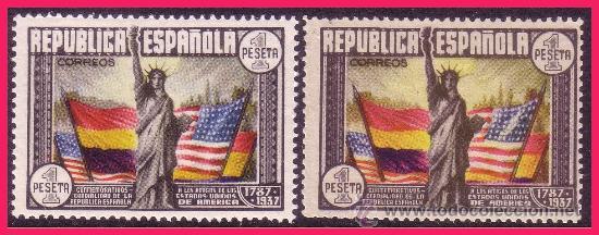 1938 CL ANIV. CONSTITUCIÓN EEUU, EDIFIL Nº 763 Y 763A * (Sellos - España - II República de 1.931 a 1.939 - Nuevos)