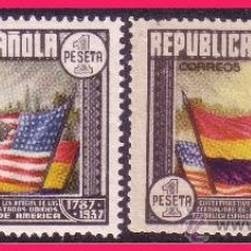 Sellos: 1938 CL ANIV. CONSTITUCIÓN EEUU, EDIFIL Nº 763 Y 763A *. Lote 32682998