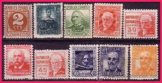 1936 CIFRA Y PERSONAJES, EDIFIL Nº 731 A 740 * * (Sellos - España - II República de 1.931 a 1.939 - Nuevos)