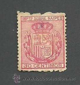0014 SELLO FISCAL - IMPUESTO SOBRE NAIPES - 30C. ROJO (Sellos - España - II República de 1.931 a 1.939 - Usados)