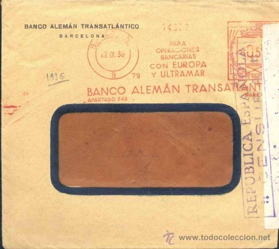 AÑO 1936.- SOBRE CON FRANQUEO MECÁNICO MUY NÍTIDO Y CIERRE DE CENSURA (Sellos - España - II República de 1.931 a 1.939 - Cartas)