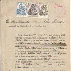 Sellos: 1938 ELCHE. REPUBLICA DOCUMENTO POLIZA 8ª DE 1,50 PTS DE 1932 2 DE 9º DE 0,50 PTS 1934. SELLO FISCAL. Lote 34297181