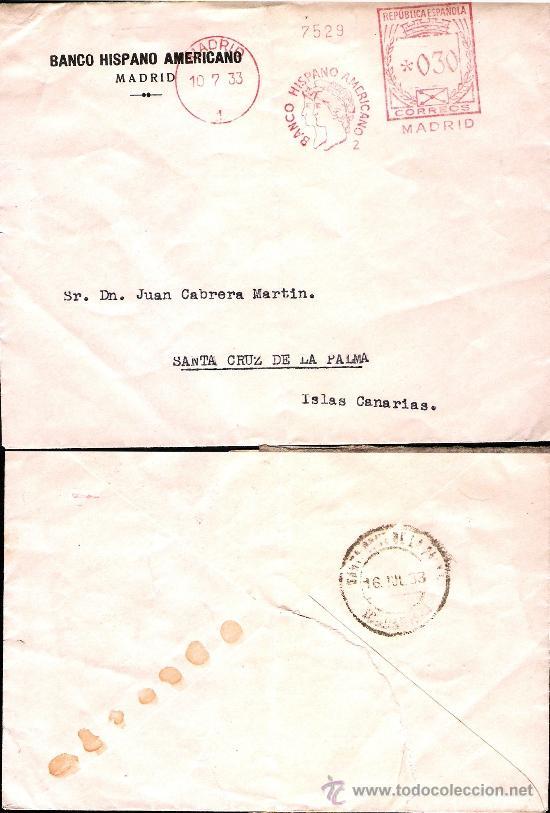 1933.-CARTA REPUBLICANA, FRANQUEO MECANICO CONCERTADO Y PUBLICIDAD,DE MADRID A STA. CRUZ DE LA PALMA (Sellos - España - II República de 1.931 a 1.939 - Cartas)