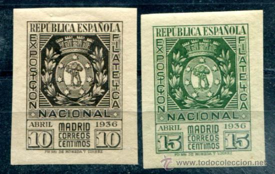 EDIFIL 727/728. SERIE COMPLETA EXPO MADRID. NUEVOS CON FIJASELLOS. (Sellos - España - II República de 1.931 a 1.939 - Nuevos)