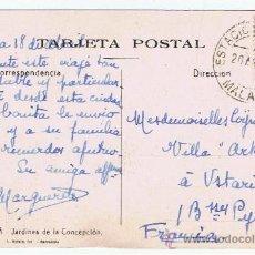 Sellos - postal jardines concepcion circulada 1933 de malaga a ustaritz - 35489639