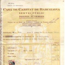 Sellos: 1934 BARCELONA. SEGELL PRO INFANCIA DE 5 CTS DE 1933 EN FACTURA DE CASA DE CARIDAD. II REPUBLICA. Lote 35557083