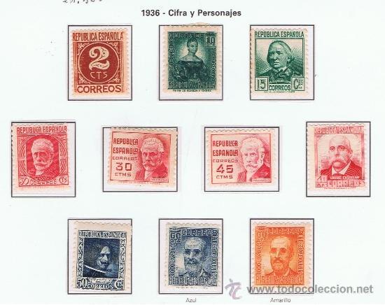 PERSONAJES 1936 EDIFIL 731-740 NUEVOS(*)/*/** SERIE COMPLETA (Sellos - España - II República de 1.931 a 1.939 - Nuevos)