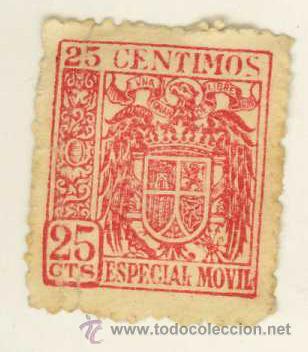 SELLO ESPECIAL MOVIL 25 CENTIMOS (Sellos - España - II República de 1.931 a 1.939 - Usados)