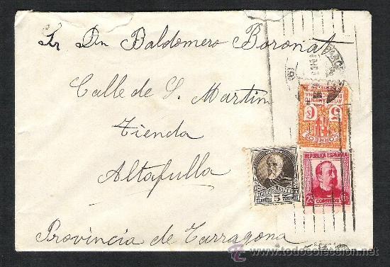 CARTA SOBRE CIRCULADO 2A REPUBLICA BARCELONA SELLO PI Y MARGALL AYUNTAMIENTO (Sellos - España - II República de 1.931 a 1.939 - Cartas)