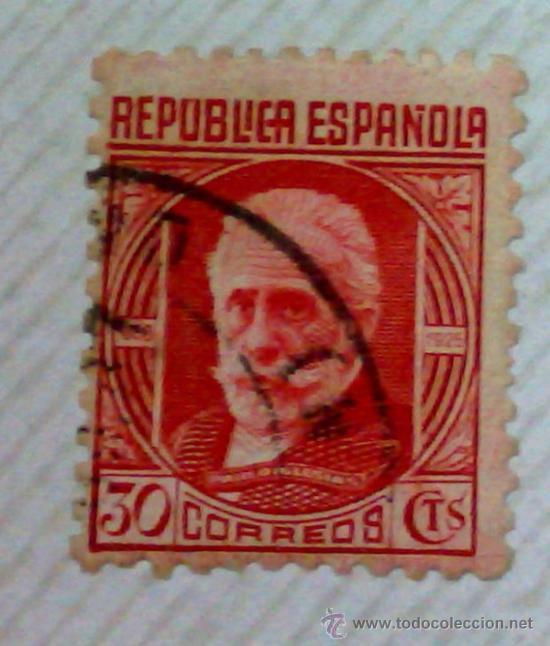 Sellos: CIRCA 1930-1940.-II REPUBLICA ESPAÑOLA,- HOJA CON COLECCIÓN DE 47 SELLOS DE LA ÉPOCA - Foto 22 - 36152588