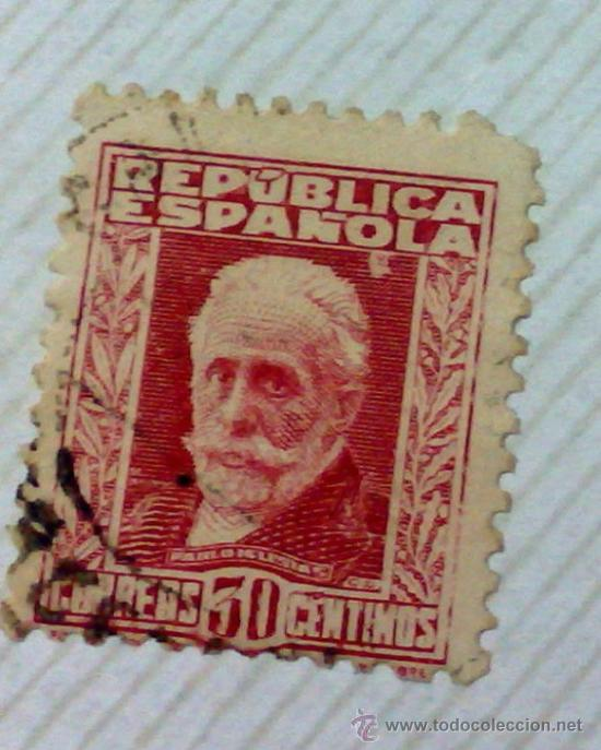 Sellos: CIRCA 1930-1940.-II REPUBLICA ESPAÑOLA,- HOJA CON COLECCIÓN DE 47 SELLOS DE LA ÉPOCA - Foto 41 - 36152588