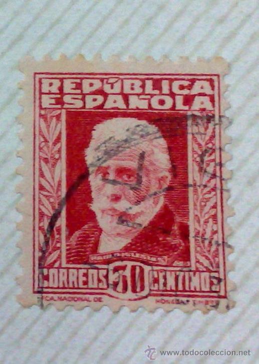 Sellos: CIRCA 1930-1940.-II REPUBLICA ESPAÑOLA,- HOJA CON COLECCIÓN DE 47 SELLOS DE LA ÉPOCA - Foto 42 - 36152588