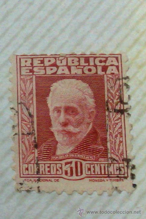 Sellos: CIRCA 1930-1940.-II REPUBLICA ESPAÑOLA,- HOJA CON COLECCIÓN DE 47 SELLOS DE LA ÉPOCA - Foto 46 - 36152588