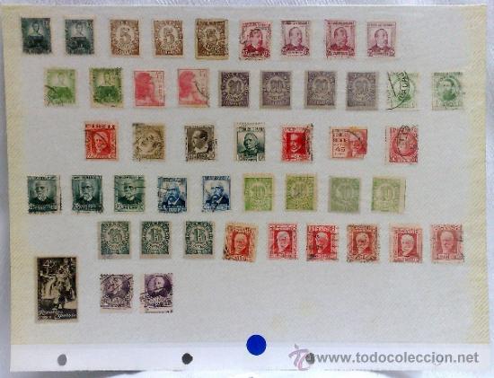 Sellos: CIRCA 1930-1940.-II REPUBLICA ESPAÑOLA,- HOJA CON COLECCIÓN DE 47 SELLOS DE LA ÉPOCA - Foto 50 - 36152588