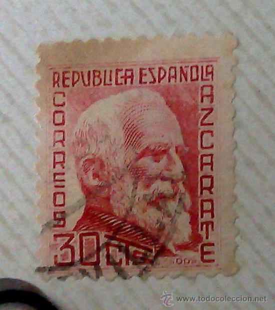 Sellos: CIRCA 1930-1940.- II REPÚBLICA ESPAÑOLA,- .-HOJA CON COLECCIÓN DE 19 SELLOS DE LA ÉPOCA. - Foto 20 - 36189333