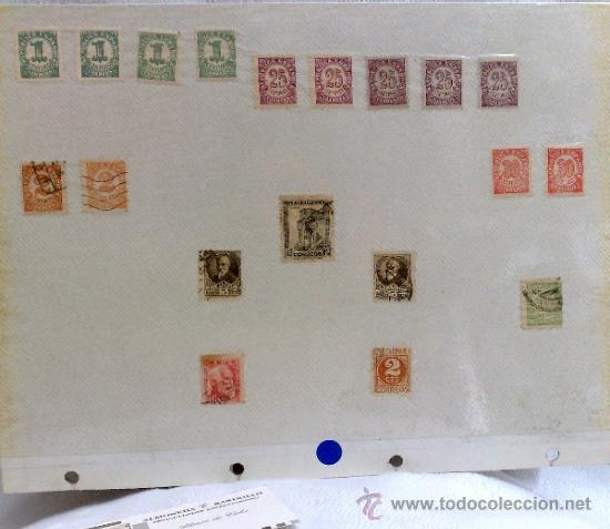 Sellos: CIRCA 1930-1940.- II REPÚBLICA ESPAÑOLA,- .-HOJA CON COLECCIÓN DE 19 SELLOS DE LA ÉPOCA. - Foto 23 - 36189333