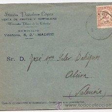 Sellos: SOBRE CON PUBLICIDAD DE FRUTAS. MADRID. CONSERVA DENTRO CARTA COMERCIAL CON MEMBRETE. Lote 37017527