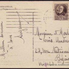 Sellos: ESPAÑA. (CAT. 655,666). 1932. T. P. DE SAN SEBASTIÁN A FRANCIA. 5 Y 20 CTS. PI MARAGALL. BONITA.. Lote 37472683