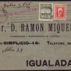 Sellos: ESPAÑA.(CAT.659,AYTO.4).1932.SOBRE DE BARCELONA A IGUALADA. 30 C. Y 5 C. AYTO. LLEGADA. MUY BONITO.. Lote 37472957
