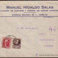 Sellos: ESPAÑA. (CAT. 663, 667).1934. SOBRE DE HUELVA A IGUALADA. 5 Y 25 CTS. BONITO FRANQUEO PERSONAJES.. Lote 37476184