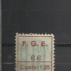 Sellos: 422-SELLO U.G.T. SINDICATO 1,25 PESETAS AÑO 1935.REPUBLICA,RARISIMO ,NO CATALOGADO. HABILITADO.UNION. Lote 37772216