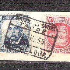 Sellos: EDIFIL 660/687. MATASELLO CERTIFICADO TARDE. BARCELONA. EN FRAGMENTO.. Lote 38011342