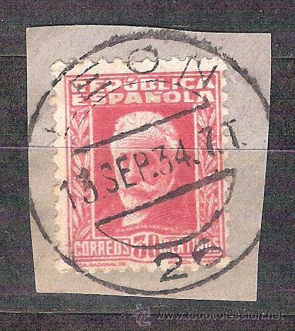 EDIFIL 659. MATASELLO FECHADOR. LEON. EN FRAGMENTO. (Sellos - España - II República de 1.931 a 1.939 - Usados)