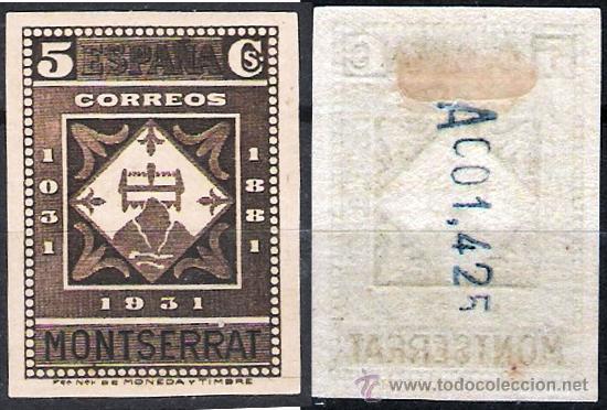 1931.- MONTSERRAT 5 CTS. SIN DENTAR CON NUMERO EN REVERSO. EDIFIL Nº 638S* (Sellos - España - II República de 1.931 a 1.939 - Nuevos)