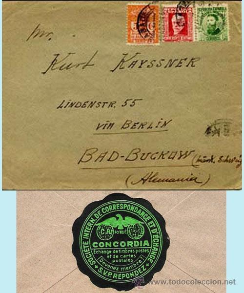 1934.- CARTA TRICOLOR DE SABADELL A BAD-BUCKOW (ALEMANIA). REV. ETIQUETA DE EMPRESA CONCORDIA. (Sellos - España - II República de 1.931 a 1.939 - Cartas)