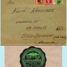 Sellos: 1934.- CARTA TRICOLOR DE SABADELL A BAD-BUCKOW (ALEMANIA). REV. ETIQUETA DE EMPRESA CONCORDIA.. Lote 38203347