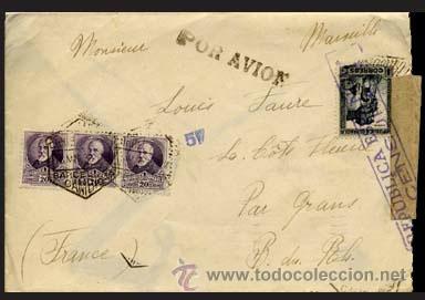 1938.- CARTA BICOLOR POR AVION DE BARCELONA A FRANCIA. ETIQUETA Y CENSURA REPUBLICANA EN ANV. Y REV. (Sellos - España - II República de 1.931 a 1.939 - Cartas)