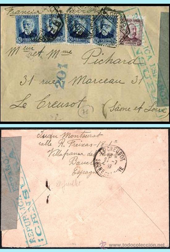 1938.- CARTA BICOLOR CON 5 SELLOS Y MAT.