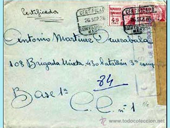 1938. CERTIFICADO CON PAREJA DE PABLO IGLESIAS, DE MADRID A BGDA. MIXTA 108 BASE 1ª.CENSURA S/ CATº. (Sellos - España - II República de 1.931 a 1.939 - Cartas)