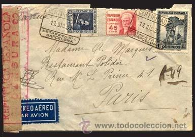 1937.- CARTA TRICOLOR CERTIFICADA ESTAFETA Nº 1 DE BARCELONA A PARIS. POR AVION. (Sellos - España - II República de 1.931 a 1.939 - Cartas)